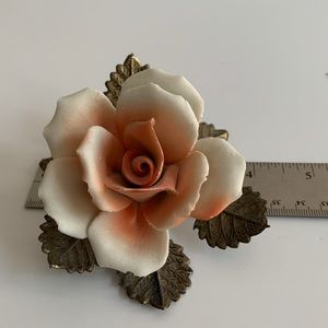 Vintage Porcelain Ceramic Rose Decoration